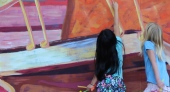 Students interacting with the mural.